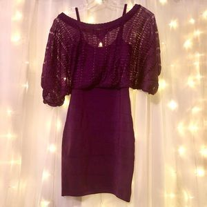 Purple Bandage Batwing Kimono Top Clubwear Dress